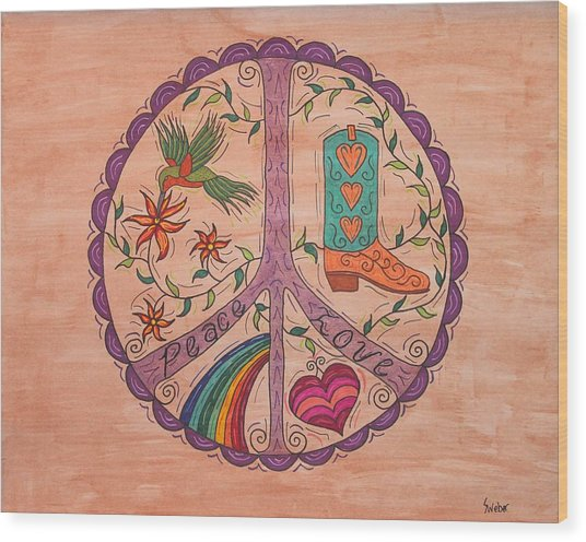 Peace And Love Western Style Wood Print