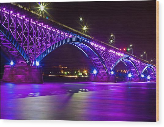 Peace Bridge Led Wood Print