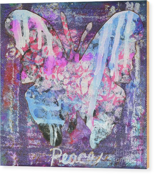 Peace Butterfly Wood Print