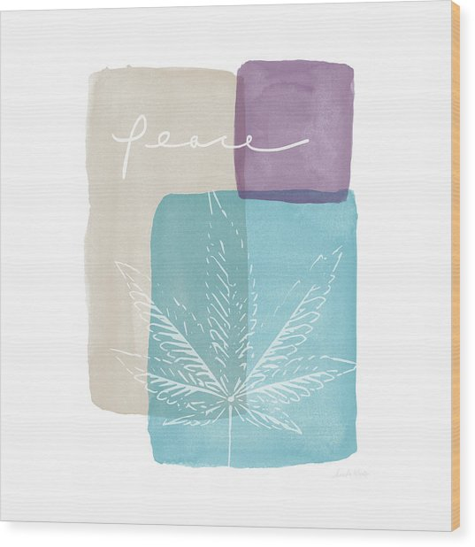 Peace Cannabis Leaf Watercolor- Art By Linda Woods Wood Print