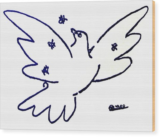 Peace Dove Serigraph In Blue As A Tribute To Pablo Picasso's Lithograph Of Love Bird With Flowers Wood Print