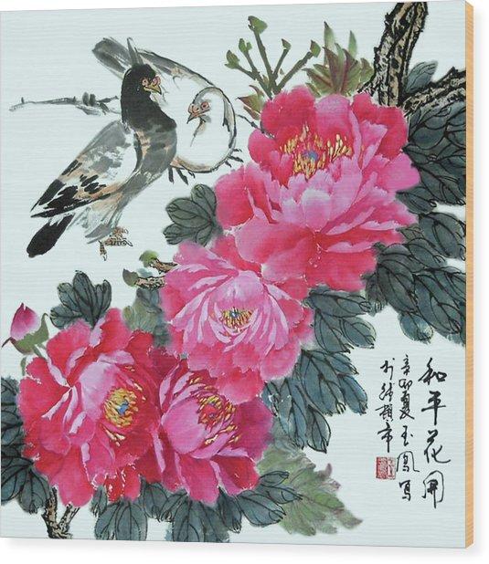 Peace Flowers Wood Print
