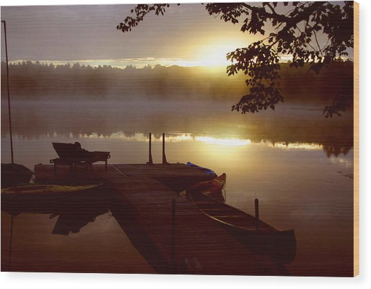 Peace On Lake Wood Print by Dennis Curry