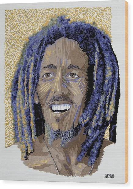 Peace Portrait One Bob Marley Wood Print by Barbara Lugge