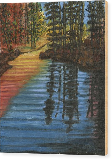 Peaceful Brook Wood Print by Tanna Lee M Wells