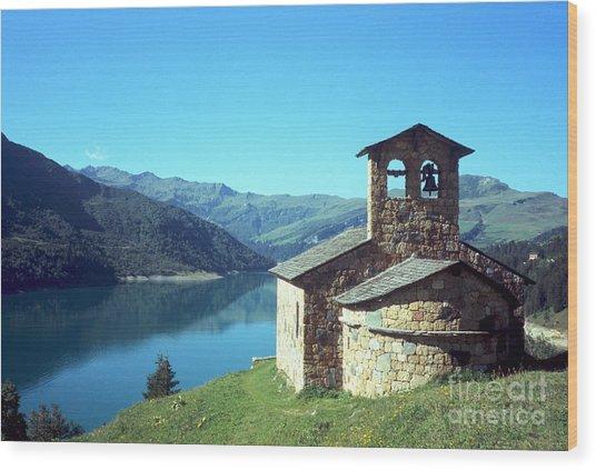 Peaceful Church And Lake  Wood Print