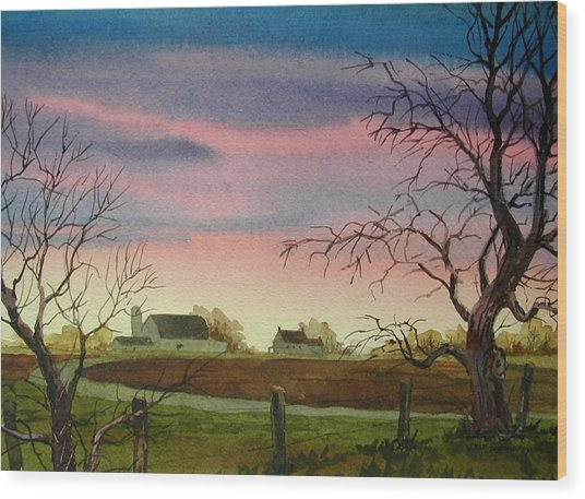 Peaceful Evening Wood Print by Faye Ziegler