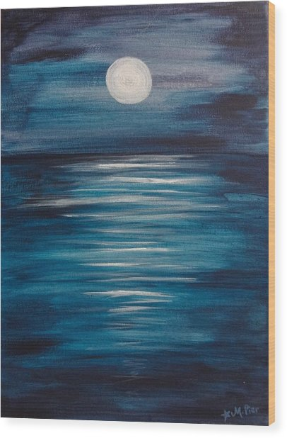 Peaceful Moon At Sea Wood Print