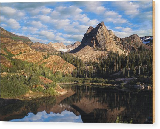 Peaceful Mountain Lake Wood Print