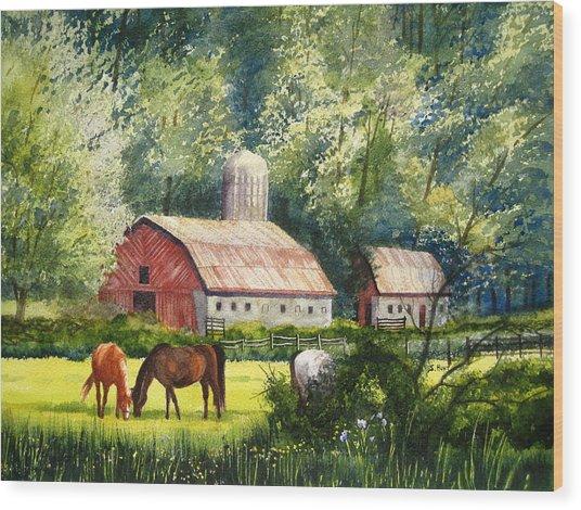 Peaceful Pasture Wood Print