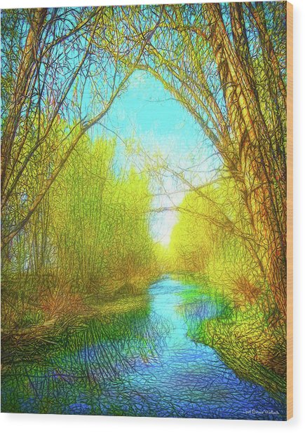 Peaceful River Spirit Wood Print