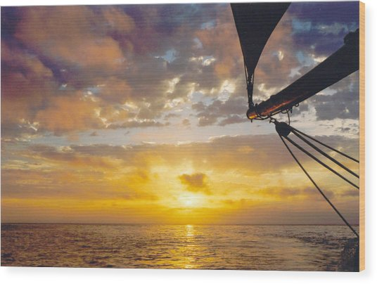 Peaceful Sailing Wood Print by Kathy Schumann