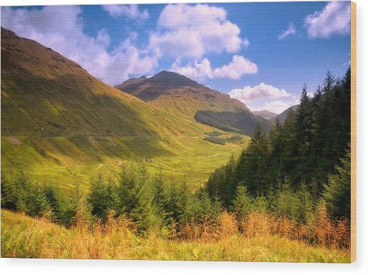 Peaceful Sunny Day In Mountains. Rest And Be Thankful. Scotland Wood Print