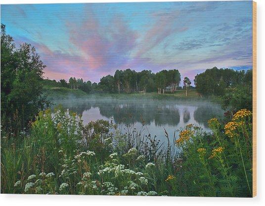 Peaceful Sunrise At Lake. Altai Wood Print