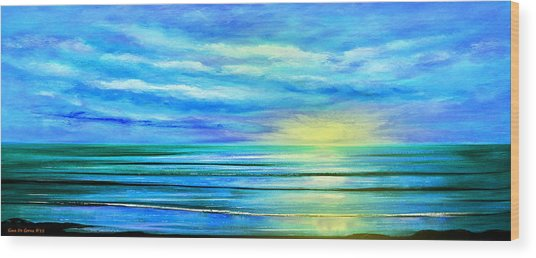 Peacefully Blue - Panoramic Sunset Wood Print
