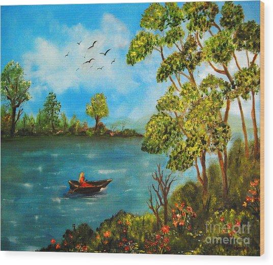 Peacful Boating Wood Print by Tina Haeger