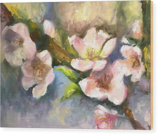 Peach Blossoms Wood Print
