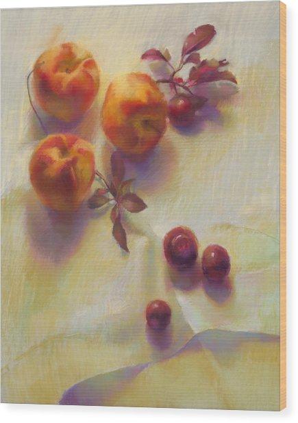 Peaches And Cherries Wood Print by Cathy Locke
