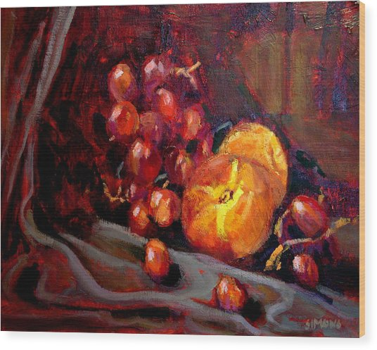 Peaches And Grapes Wood Print by Brian Simons
