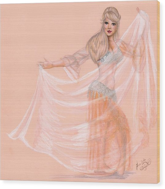 Peachy Dancer Wood Print by Scarlett Royal