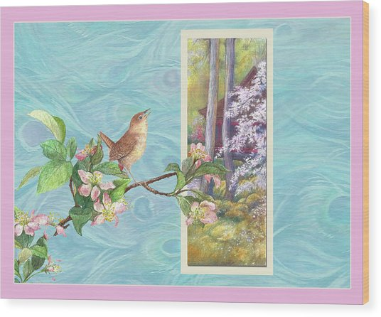 Peacock And Cherry Blossom With Wren Wood Print
