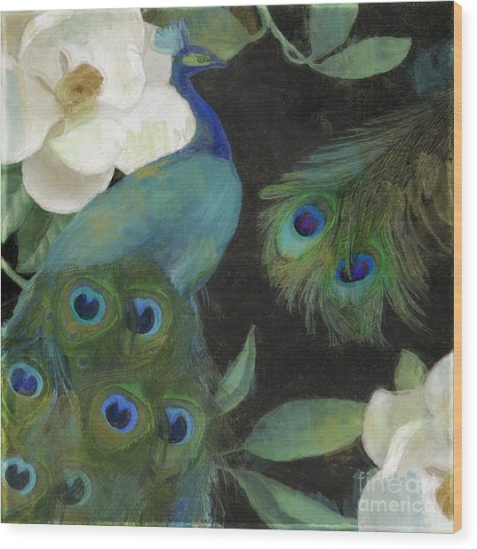 Peacock And Magnolia II Wood Print