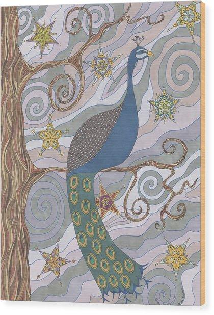 Peacock Dream's Wood Print
