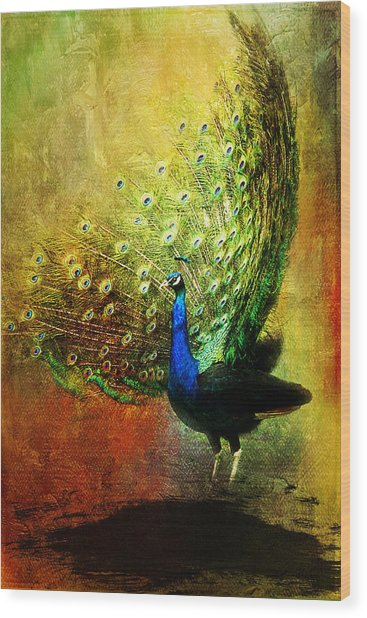 Peacock In Full Color Wood Print