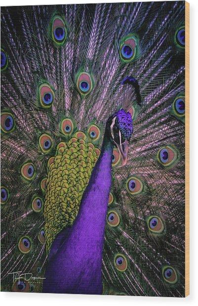 Peacock In Purple Wood Print
