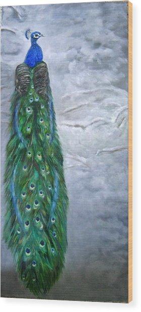 Peacock In Winter Wood Print