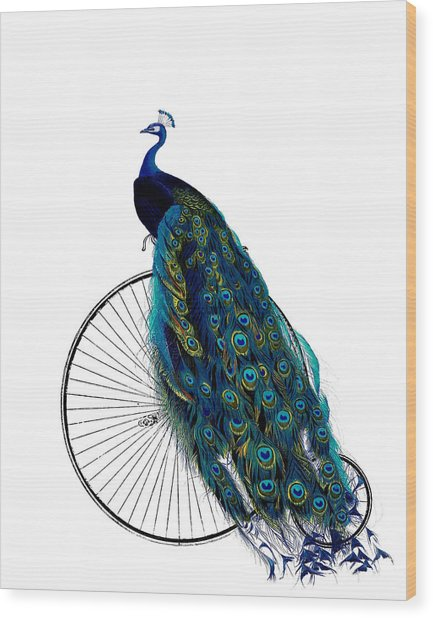 Peacock On A Bicycle, Home Decor Wood Print
