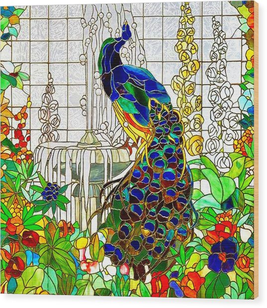 Peacock Stained Glass Wood Print