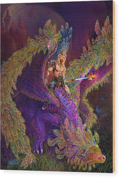 Peacok Dragon Wood Print