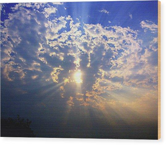 Peaking Behind The Clouds Wood Print