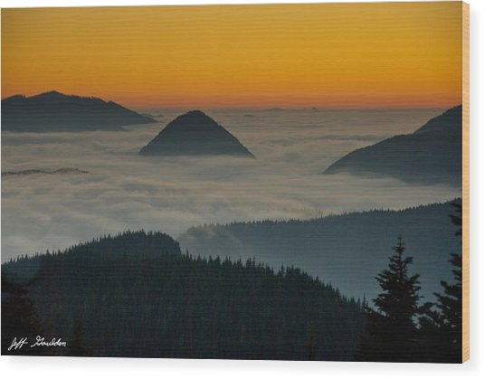 Peaks Above The Fog At Sunset Wood Print