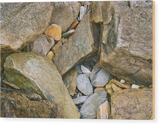 Peaks Island Rock Abstract Photo Wood Print by Peter J Sucy