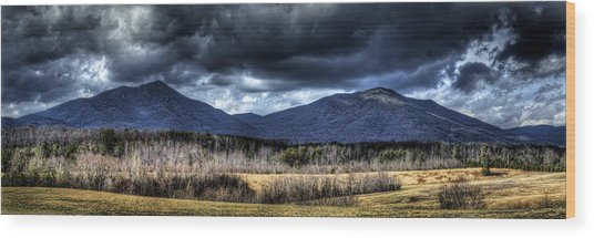 Peaks Of Otter Storm Clouds Wood Print