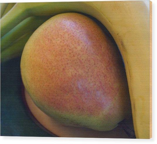 Pear And Banana Wood Print
