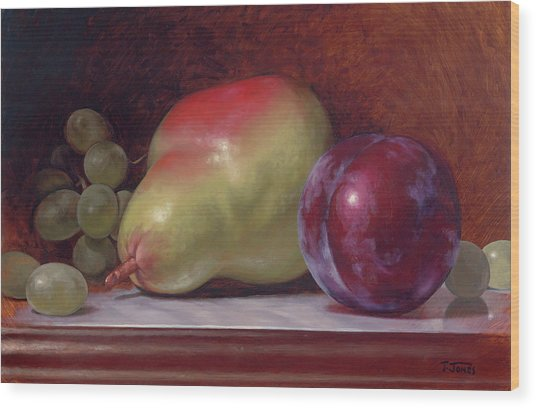 Pear And Plum Wood Print