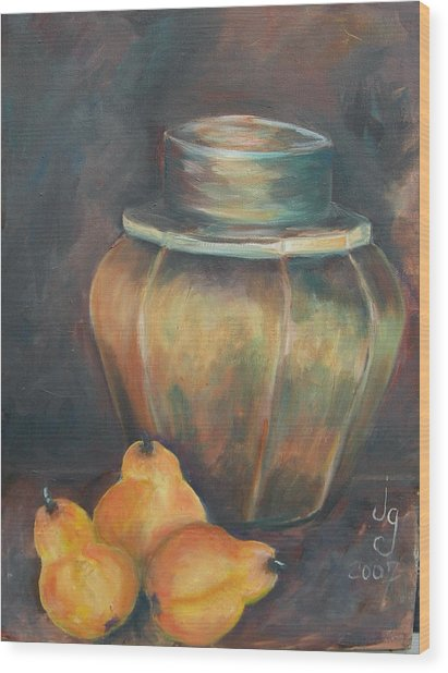 Pear Jar Wood Print by Judie Giglio