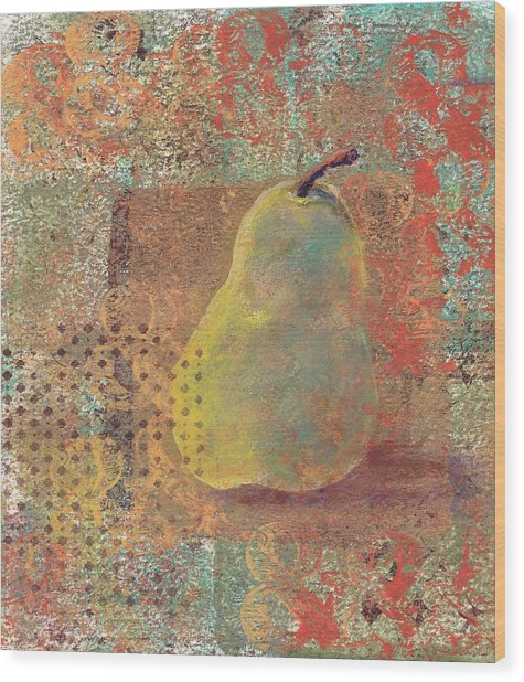 Wood Print featuring the painting Pear by Ruth Kamenev