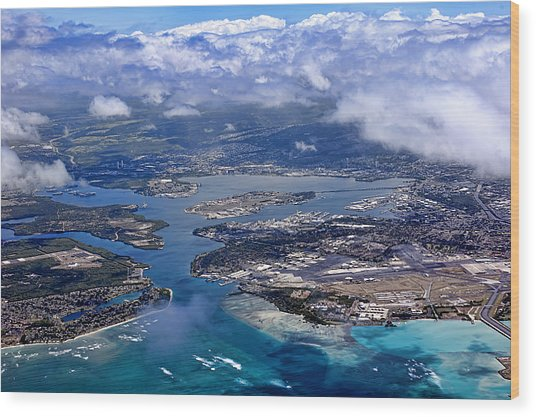 Pearl Harbor Aerial View Wood Print