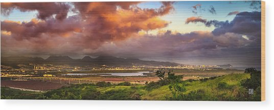Pearl Harbor Sunset Wood Print