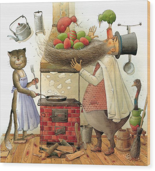 Pearman And Cat Wood Print by Kestutis Kasparavicius