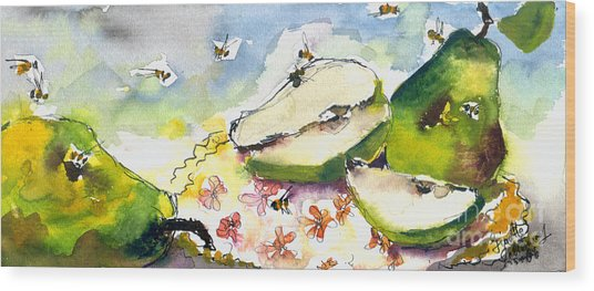 Pears And Bees  Wood Print by Ginette Callaway