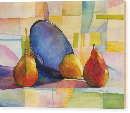 Pears And Blue Bowl Wood Print