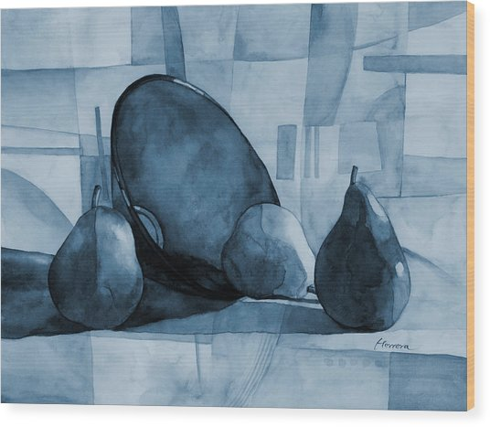 Pears And Blue Bowl On Blue Wood Print