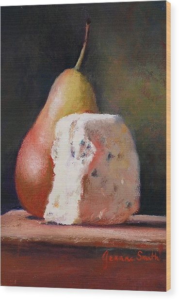 Pears And Gorgonzola Wood Print by Jeanne Rosier Smith