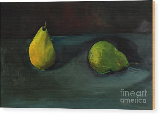 Pears Apart Wood Print
