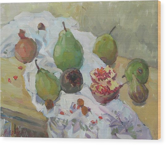 Pears Figs And Young Pomegranates Wood Print